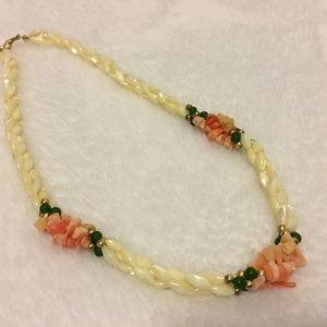 Mother of Pearl, Coral & Jade Torsade Necklace EUC